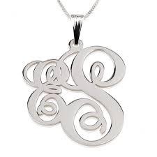 monogram necklace silver letter monogram necklace