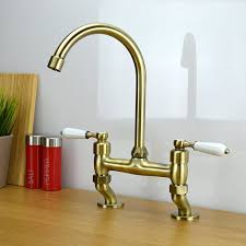 enki traditional white lever bridge tap kitchen sink mixer tap