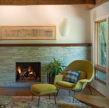 reface brick fireplace living room transitional with saarinen