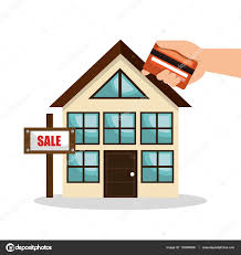 house real estate sell credit card business design u2014 stock vector