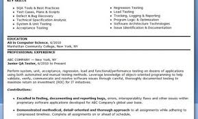 Sample Resume For 1 Year Experience In Manual Testing by Experience Resume For Manual Testing Countriessided Cf
