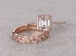 stackable wedding rings 3pcs emerald cut moissanite engagement rings wedding sets