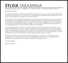 communications associate cover letter sample livecareer