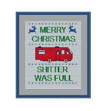 merry shitter was cross stitch pattern