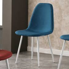 Esszimmerstuhl Leder Blau Stuhl Set Emanya In Blau Weiß Aus Stoff Wohnen De
