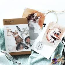 30 pcs lot cat u0027s words watercolor postcard scratch greeting card