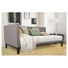 mid century modern upholstered daybed gray twin dorel home