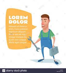 mechanic plumber handyman cartoon character stock photos