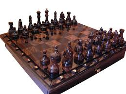 black and brown obsidian chess set board game table game