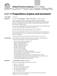 prepositions of place and movement teachers preposition and