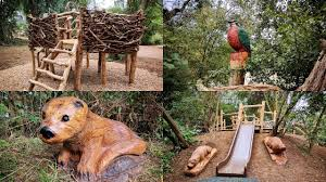wooden animal sculptures and play equipment at rushden lakes