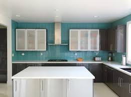 kitchen interior blue kitchen backsplash glass tiles tile contemp