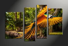 4 piece canvas parrot art