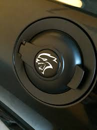 dodge challenger fuel gas cap fuel badge upgrade came in srt hellcat forum