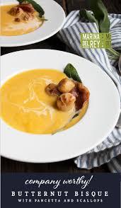 ina garten butternut squash soup butternut bisque with pancetta and scallops recipe pan seared