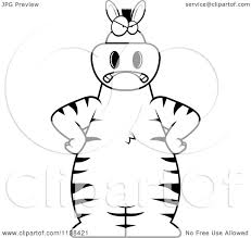 cartoon clipart of an outlined angry zebra black and white