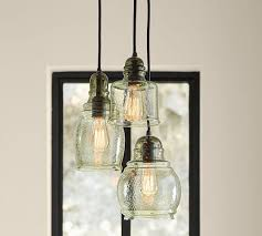 Three Pendant Light Fixture Paxton Glass 3 Light Pendant Pottery Barn In Three Pendant Light
