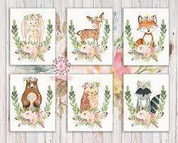 bunny bear deer fox woodland boho printable wall art feather