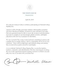College National Letter Of Intent On College Signing Day Obama Asks Students To
