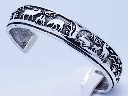 cuff bracelet sterling images Cuff bracelet sterling silver moose elk deer bear JPG