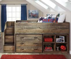 trinell low loft bed with dresser and bookcase ashley kids