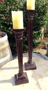 set of two tall column candleholders home decor garden decor by