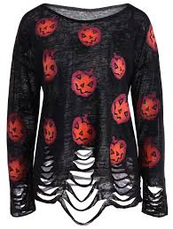 Halloween Hawaiian Shirt by Pumpkin Ripped Halloween Knitwear Black Xl In Sweaters