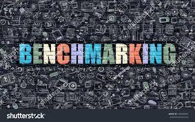 benchmarking multicolor concept on dark brick stock illustration