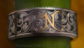 gold inlay engraving engraved rings