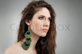earrings girl beautiful girl with earrings made stock photo colourbox