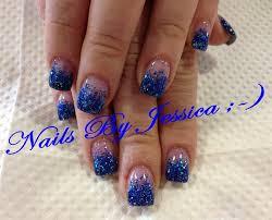 blue glitter acrylic fade nail art gallery
