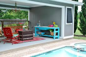 outdoor party buffet table in pool blue hunt and host