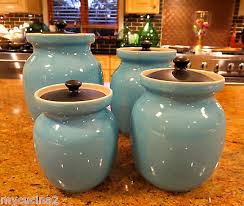set of 4 turquoise blue italian ceramic kitchen canisters c 1950