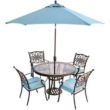Patio Table Glass Top Hanover Traditions 5 Piece Aluminum Outdoor Dining Set With Round