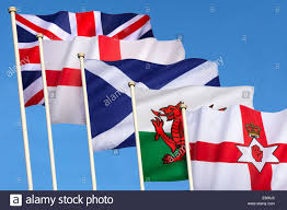 flags of the united kingdom of great britain england scotland