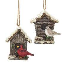 white birdhouse with cardinals glass ornament 2 assorted kurt s