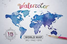 World Map Ai File Free Download by Watercolor World Maps Jpg Eps Png Illustrations Creative Market