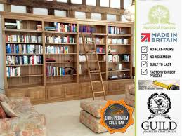 Bookcase With Ladder by Traditional Solid Oak 8ft X 14ft Library Bookcase With Ladder
