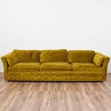long damask voided velvet mustard yellow sofa loveseat vintage