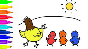 how to draw a hen and baby chickens coloring pages for kids