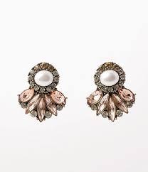 vintage earrings vintage style ivory pearl multicolor rhinestone post