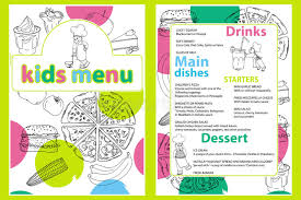different types of cuisines in the colorful meal menu template with kitchen