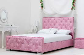 Pink Bed Frames Crushed Velvet Beds In Silver Pink Or Gold Fast Free Uk