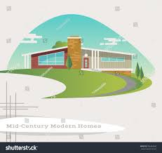 mid century modern style ranch house stock vector 506464840