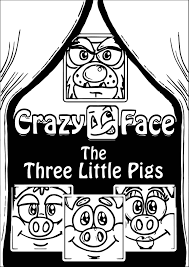 crazy face 3 pigs coloring wecoloringpage