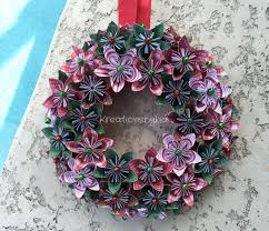 Holiday Wreath Origami Paper Flower Wreath Christmas Wreath Holiday