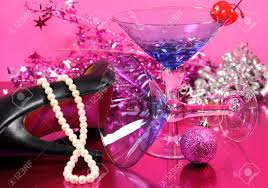 blue martini pink theme happy new year party with vintage blue martini cocktail