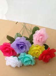 artificial flowers simulation rose single branch multiple colors