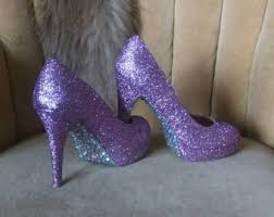 shimmer lights purple shoo crystal heels etsy