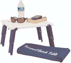 compact folding beach table personal beach table folds flat for easy carry and fast set up